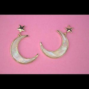 Abalone Shell Crescent Moon Earrings